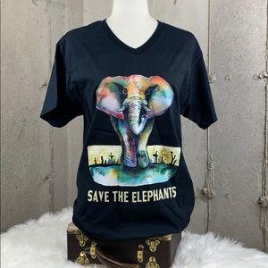Save the Elephants VNeck Cotton Shirt Medium